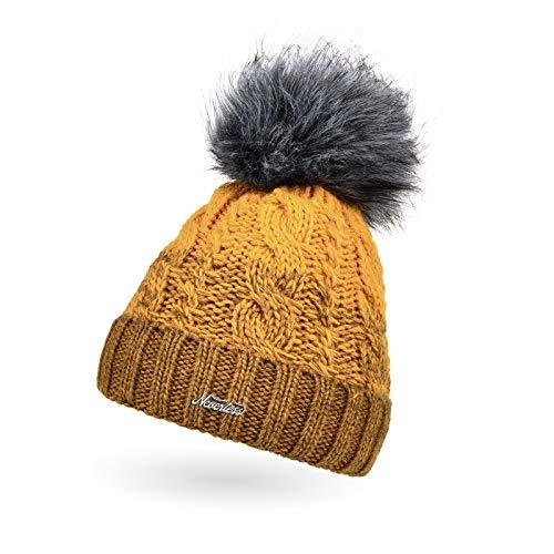 Neverless Berretto da donna lavorato a maglia, foderato, fodera in pile, pompon in pelliccia sintetica, cappello invernale con pompon, motivo trecce, multicolor 12144 dunkelgelb-gelb Taglia unica