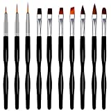 BestFire 10pcs Gel Nail Brush Set UV Nail Art Brushes Design Painting Drawing 3D Nail Brush Pen Kit, Dotting Tool, Fan Brush and Liner for Professional Salons and Home DIY