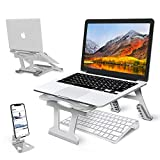 """Laptop Stand,Portable Laptop Stand, 6 Angles Adjustable Aluminum Ergonomic Folding Laptop Desktop Holder Compatible with MacBook,iPad, HP, Dell, Lenovo 10-15.6""""- Silver"""