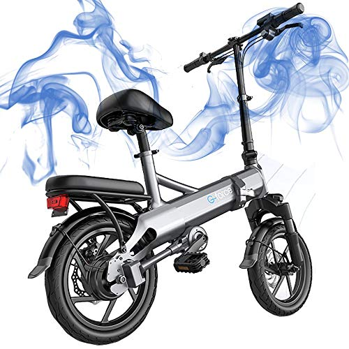 GGFHH Bicicleta eléctrica Plegable Ebike, 14 '' Bicicleta eléctrica de cercanías 400W Ebike, Bicicleta eléctrica para Adultos Carga máxima 150 kg - Velocidad hasta 25 km/h