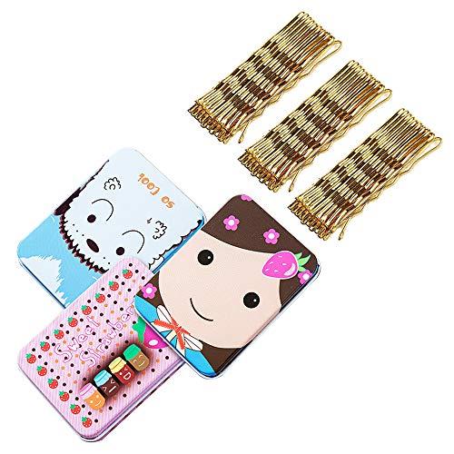 IWILCS 200 piezas horquillas, pinzas para el cabello con forma de onda de metal, horquillas para el cabello rubio, para accesorios para el cabello para niñas y mujeres, con caja de almacenamiento