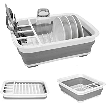 Amazon Com Collapsible Dish Drying Rack Portable Dish Drainer Dinnerware Organizer Kitchen Rv Campers Storage Kitchen Dining