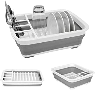 Portable Dish Drying Rack Collapsible Dish Drainer Dinnerware Organizer Kitchen RV Campers Storage