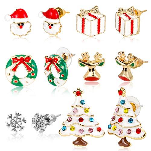 Konsait 6 Pairs Christmas Earrings,Assorted Costume Jewelry Earring Stud For Women Little Girls, Xmas Drop Earring, Festive Xmas Holiday Party Drop Earrings Accessory, Christmas Gift Idea