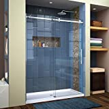 DreamLine SHDR-64607610-07 Enigma Air Frameless Sliding Glass Shower Door, 56-60' W, x 76' H, Brushed Stainless Steel