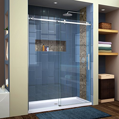 "DreamLine SHDR-64607610-07 Enigma Air Frameless Sliding Glass Shower Door, 56-60"" W, x 76"" H, Brushed Stainless Steel"