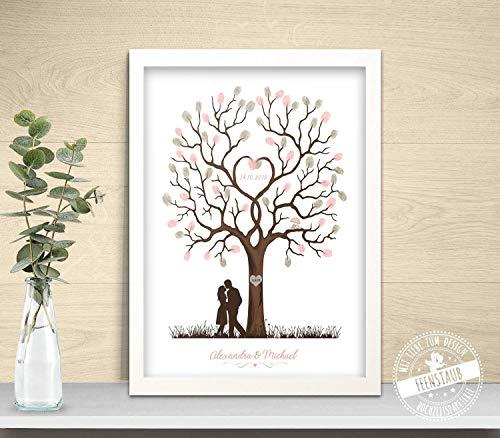 Wedding-Tree mit Brautpaar für Fingerabdrücke, Gästebuch zur Hochzeit, individuelle Hochzeitsbaum