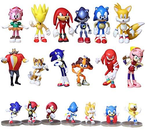Conjunto figuras Sonic 19 unids/lote figuras sónicas juguete PVC juguete Sonic Shadow Tails personaje figura de acción juguete para niños regalo de cumpleaños para niños