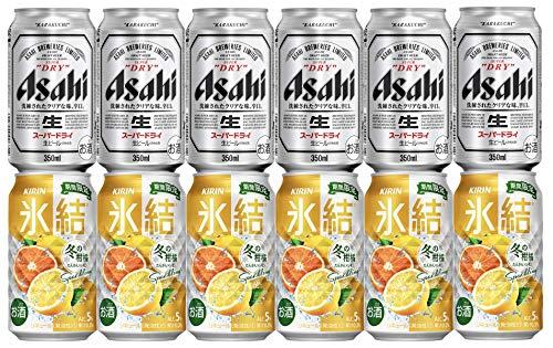 ビール&氷結セット! アサヒスーパードライ350ml 6本 + キリン氷結 冬の柑橘スパークリング350ml 6本