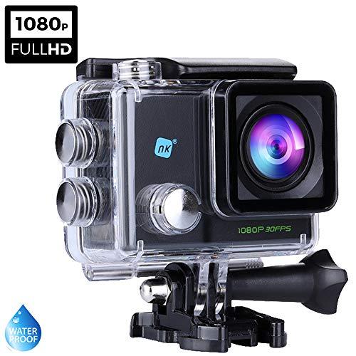 NK Dive Cámara Deportiva subacuática 1080p (Alta Definición), Carcasa Impermeable, 120º 4G, Pantalla LCD, Sensor GC0309, 700mAh, Negro(15 Accesorios Múltiples)