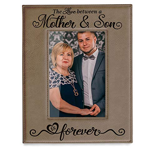 KATE POSH The Love Between a Mother & Son is Forever Engraved Leather Picture Frame, Mother of The...