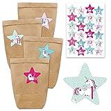 DIY Adventskalender zum Befüllen - mit 24 braunen Papiertüten und 24 Einhorn- Aufklebern - zum Selbermachen und Basteln - Mini Set Nr 38 - Weihnachten 2020 für Kinder
