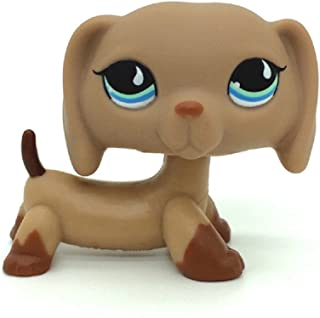 ZAD Littlest Pet Shop Puppy Dog Dachshund Tan Brown w/ Blue Teardrop Eyes LPS #518