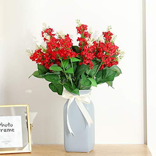 JUSTOYOU Flores de Seda Artificial Jacinto del Ramo Flores Falsas de Rosa y Hojas con Tallo de plástico 7 sucursales para el Hotel en casa Fiesta de Bodas Jardín Decoración Floral(2pcs, Rojo)
