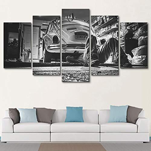 no brand 5 Piezas De Arte Taller De Coches De Pared Foto Cuadros En Lienzo Lonas De Imprimir Modern Artwork,(Sin Marco) 200Cmx100Cm