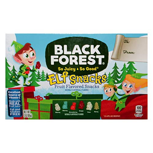 Black Forest (1) Box Elf Snacks Fruit Flavored Snacks - Cherry, Strawberry, Grape, Pear, Berry - Holiday Gummy Candy Made with Real Fruit Juice - Net Wt. 3 oz