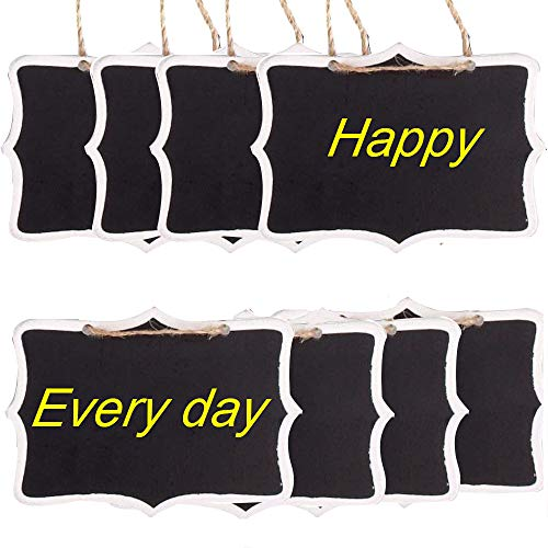 Eyech 30Pcs Mini Chalkboard Decorative Signs, Natural Wooden Double-Sided Rectangle Blackboard Decor for Home Cafe Memo Tags Message Labels Wedding Birthday Party Decoration(3.3 × 2.3 Inch) …