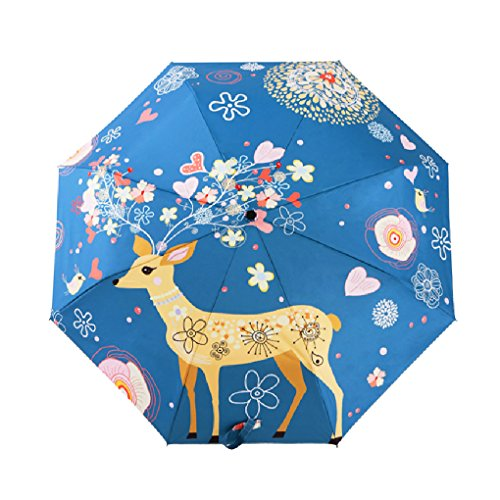 FakeFace® Silber Coating Regenschirm Sonnenschirm 3 Faltbar Doppeldach 8 Rippen Manuell Öffnen UV-Schutz Schirm für Damen Herren Outdoor Camping Reise Alltag 108 cm...