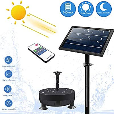 [2021 Version with Night Work] Solar-Fountain-Pump 6 in 1 Nozzle,2400 mAh Fountains Pump with Colored Led Lights&Remote Control Control for Bird Bath, Outdoors,Ponds,Swimming Pools,Fish Tanks,Gardens