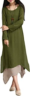Women's Casual Vintage Long Sleeve Loose Cotton Linen Boho Maxi Dress Plus Size