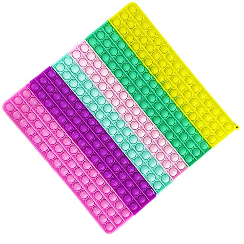 256 Bubbles Big Pop Fidget Toy Game, Silicone Big Size Push Pop Sensory Toy Tie-dye, Square Anxiety...