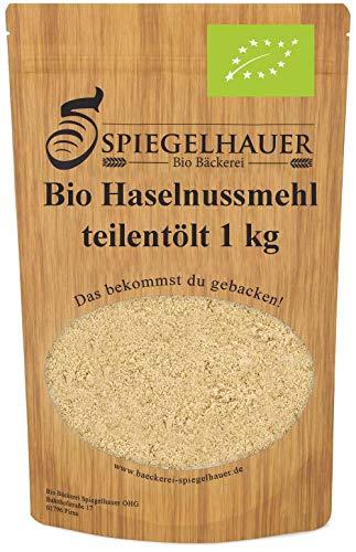 Bio Haselnussmehl teilentölt 1 kg Low Carb Mehl vegan, gemahlene Haselnüsse als Mehl-Alternative