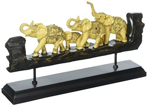 Tom Exotique parée de éléphants Imitation Bois sculpté Figurine Sculpture Décoration de Table Basse ou Une étagère de cheminée,