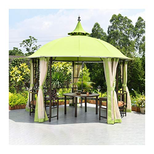 YYDD Villa Garden Furniture, Outdoor Gazebo Lawn Tent, 10x10 FT Outdoor Gazebos for Patios with Desk, Patio Pavilion, Outdoor Party Pergola with Netting, Family Gathering