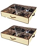 Set of 2 Under Bed Shoe Storage - All 4 Sides is Sturdy-...