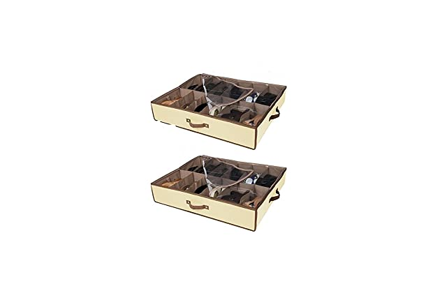 2c3cececbe Set of 2 Under Bed Shoe Storage - All 4 Sides is Sturdy- Drawers,Closet Box  Organizer Natural Canvas with See-Through Top, Brown Trim, Size: 23 ½'' x  29 ½'' ...
