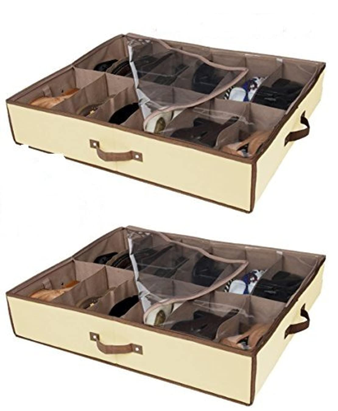 Set of 2 Under Bed Shoe Storage - All 4 Sides is Sturdy- Drawers,Closet Box Organizer Natural Canvas with See-Through Top, Brown Trim, Size: 23 ?'' x 29 ?'' x 5''