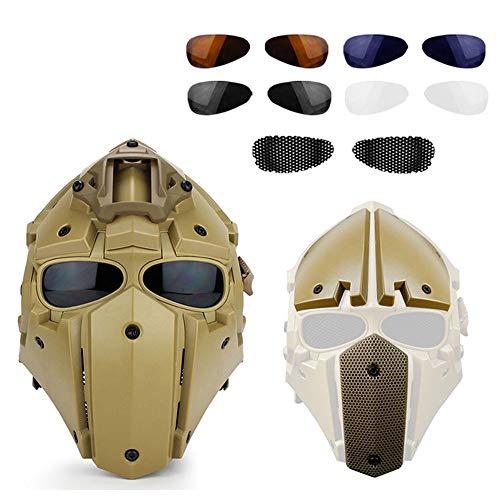 Casco Táctico con Gafas, Máscaras Protectoras faciales Completade Visera de 4 Pares, Circunferencia de la Cabeza Ajustable,Amarillo
