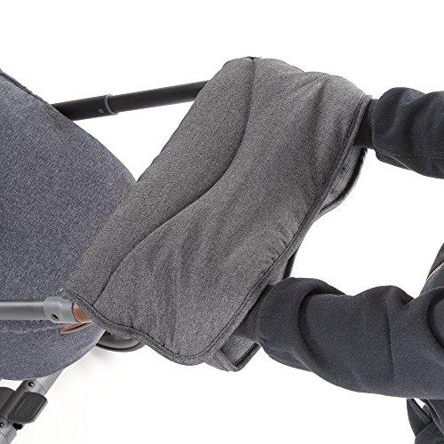 Calentador de manos/Manguito con forro polar térmico, para cochecitos y sillas de paseo, repelente al agua y al viento, transpirable - color gris jaspeado