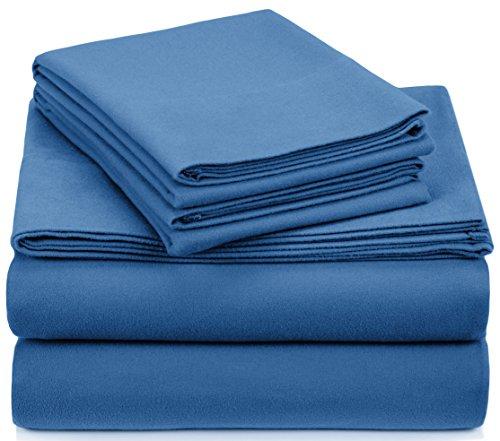Pinzon Signature Cotton Heavyweight Velvet Flannel Sheet Set - Queen, Smoky Blue