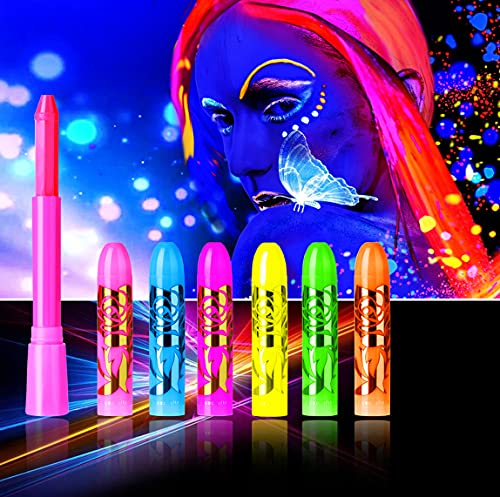 UV Glow in The Dark Face Paint Crayons,Black Light Makeup Neon Face and Body Paint Sticks for Mardi Gras Halloween Masquerades Makeup