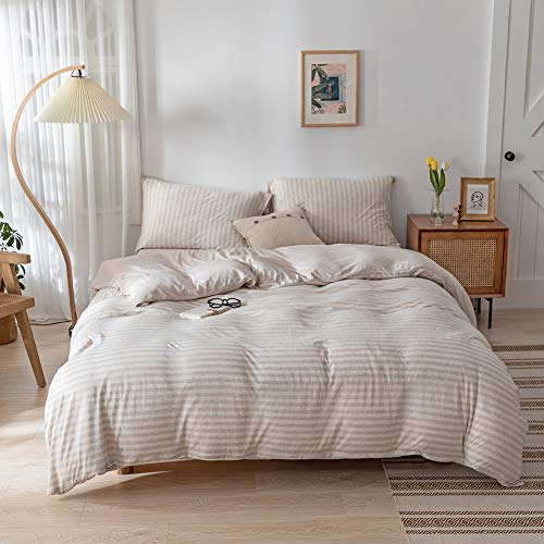 DONEUS Jersey Knit Cotton Striped Duvet Cover Queen, 3 Piece Ultra Soft Striped Duvet Cover Set( Queen Duvet Cover with 2 Pillow Shams), Simple Style and Easy Care Bedding Set (Light Brown)
