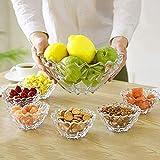 Juego de 7 piezas de tazón de frutas de vidrio transparente duradero, ideal para ensaladas de frutas, tazones para servir helados del desierto