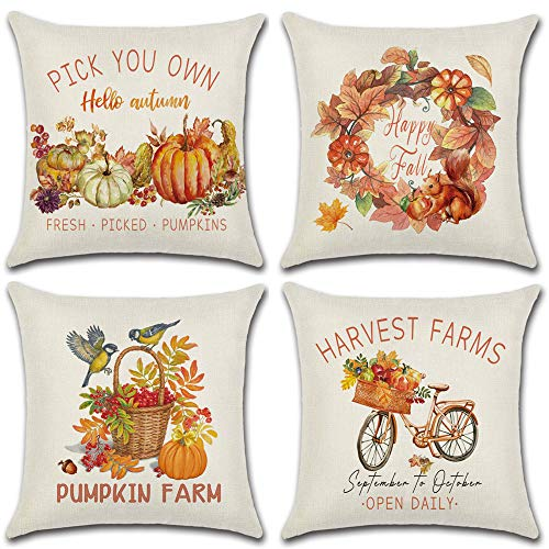 HOMANGA 4pcs Fall Pillow Covers, Thanksgiving Autumn Theme Throw Pillow Covers, Farmhouse Pumpkin Throw Pillowcase, Decorative Outdoor Pillow Covers 18x18 Inches for Fall Decor
