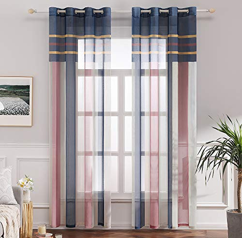 MIULEE Voile Vorhang Transparente Gardine aus Voile mit Ösen Schlaufenschal Ösenschals Transparent Fensterschal Wohnzimmer Schlafzimmer 2er Set 140x225 cm Blau + Rosa