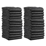US Cargo Control Supreme Mover Moving Blankets - 80 Inches Long By 72 Inches Wide - Black/White Moving Pads - Cotton/Polyester Blend Fabric - 7.5 Pounds Per Blanket - Washable and Reusable - 24 Pack