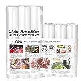 Bolsas de Vacío 6 Rollos 20x300cm y 28x300cm Bolsas Profesional para la Conservación,Sous Vide Cocina, Certificación de seguridad de grado alimenticio