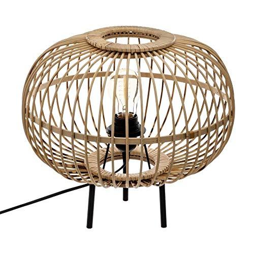 Atmosphera - Lampe à Poser en Bambou Trépied en métal EADS H 31 cm