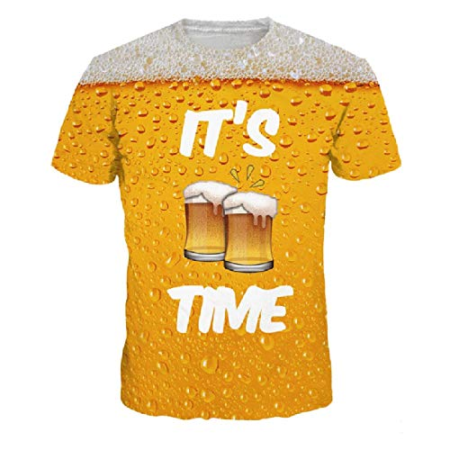 FAPIZI It's Time Men's Long Sleeve T-Shirt Funny 3D Beer Print Round Collar Pullover Sweatshirt Top Blouse for Guys Yellow