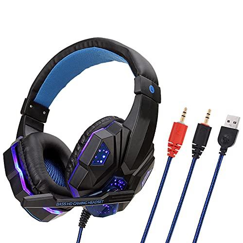 Beexcellent Auriculares para Videojuegos para PS4, Cascos Gaming con Sonido Envolvente y Reducción de Ruido. Auriculares Profesionales con micrófono y luz LED para Xbox One, PC, portátil, Mac Tablet.