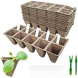 Siebwin Vasetti per Piantine, 12pcs 120 celle Biodegradable Semenzaio Vassoi Germinazione e 2pcs Piantine Dibbers e 50pcs Plant Etichette per la serra del giardino di casa