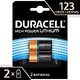 Pile lithium haute puissance Duracell 123 3V, pack de 2 (CR123 / CR123A / CR17345), conçue pour une utilisation dans les caméras Arlo, capteurs, verrous sans clé, flashs photo et lampes de poche