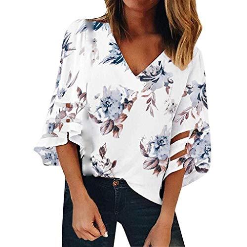 ZHDWM Ms. V-hals T-shirt Mode Bloemen Shirt Mesh Stitching Losse Shirt Casual Shirt Trompet Mouwen Gedrukt T-shirt blouse