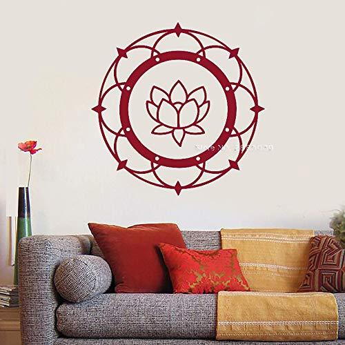jiushivr Lotus Mandala Yoga Thema Vinyl Wandtattoo Buddhismus Meditation Schlafzimmer Aufkleber Wandbild Wanddekoration Tapete Kunst Aufkleber42x42cm