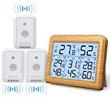 AMIR Indoor Outdoor Thermometer, 3 Channels Digital Hygrometer Thermometer with 3 Sensor, Humidity