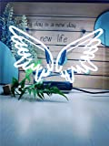 Neon Signs Angel Wing Neon Sign Neon Light Sign Light Up Signs Wall Decor Custom Neon Words for Wall Bedroom Girls Halloween Christmas Decor White Neon